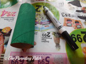 Green Toilet Paper Tube for Frankenstein's Monster Halloween Toilet Paper Roll Craft