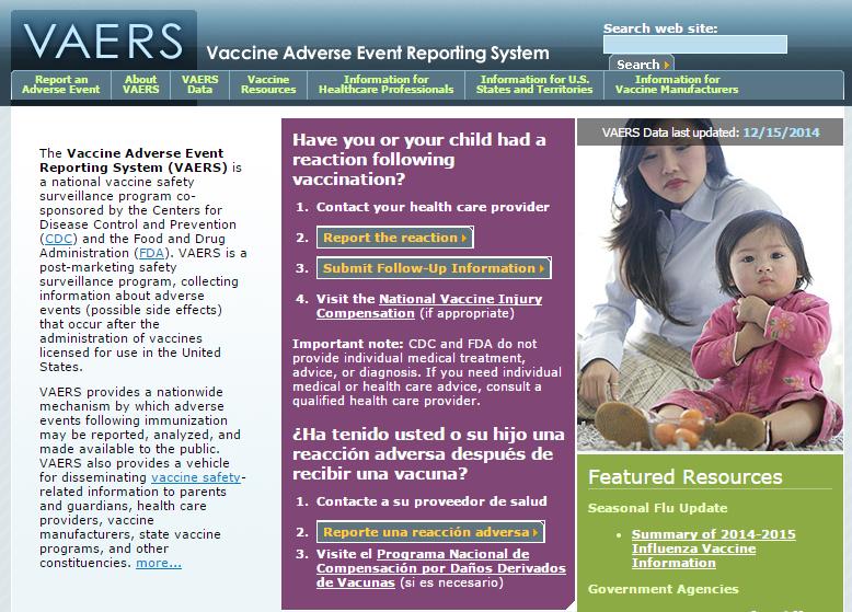 VAERS Homepage Screenshot