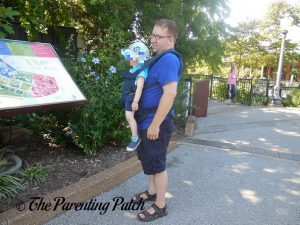 Toddler in Outward-Facing Front Carry Position in Ergobaby Omni 360 All-in-One Baby Carrier 2