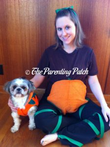 Pumpkin Patch Dog and Mother-to-Be Halloween Costumes