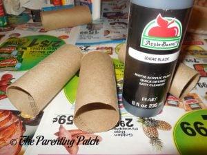 Materials for Black Bat Halloween Toilet Paper Roll Craft