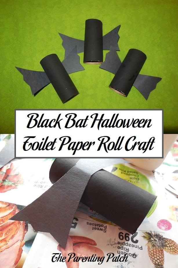 Black Bat Halloween Toilet Paper Roll Craft