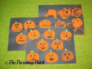 Finished Apple Print Pumpkin Jack-o-Lantern Halloween Crafts