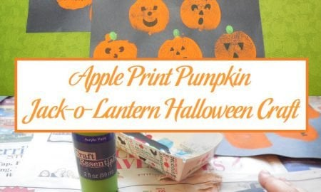 Apple Print Pumpkin Jack-o-Lantern Halloween Craft
