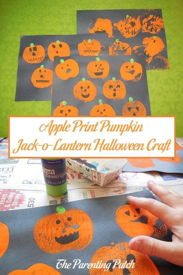 Apple Print Pumpkin Jack-o-Lantern Halloween Craft