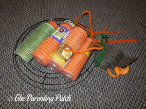 Materials for Deco Mesh and Burlap Ribbon Autumn Pumpkin Wreath Craft