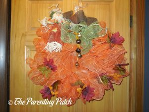 Finished Deco Mesh and Burlap Ribbon Autumn Pumpkin Wreath Craft