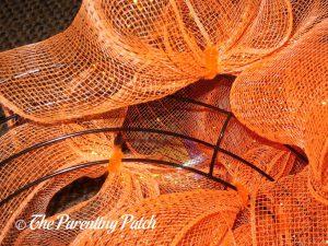 Orange Deco Mesh Loops of Deco Mesh and Burlap Ribbon Autumn Pumpkin Wreath Craft