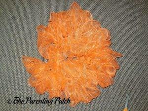 Orange on Deco Mesh and Burlap Ribbon Autumn Pumpkin Wreath Craft