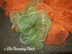 Green and Orange on Deco Mesh and Burlap Ribbon Autumn Pumpkin Wreath Craft