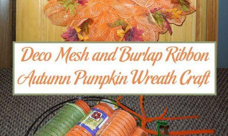 Deco Mesh and Burlap Ribbon Autumn Pumpkin Wreath Craft