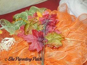Leaves for Deco Mesh and Burlap Ribbon Autumn Pumpkin Wreath Craft