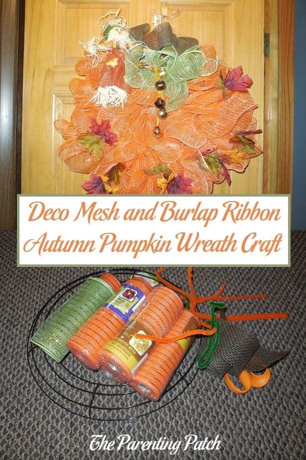 Deco Mesh and Burlap Ribbon Autumn Pumpkin Wreath Craft