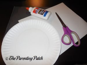 Materials for Heart Panda Valentine's Day Paper Plate Craft