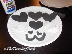 Paper Pieces for Heart Panda Valentine's Day Paper Plate Craft