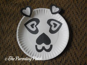 Finished Heart Panda Valentine's Day Paper Plate Craft