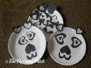 Finished Heart Panda Valentine's Day Paper Plate Crafts
