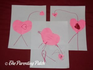 Three Finished Heart Flamingo Valentine's Day Crafts