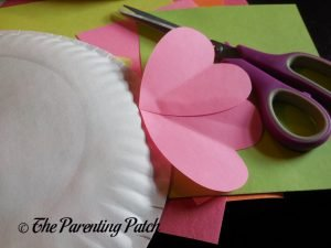 Two Large Hearts on the Heart Fish Valentine's Day Paper Plate Craft