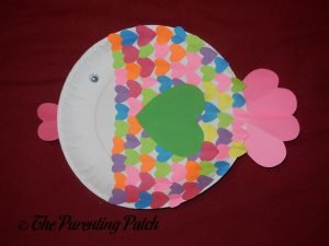 Finished Heart Fish Valentine's Day Paper Plate Craft