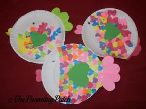 Finished Heart Fish Valentine's Day Paper Plate Crafts