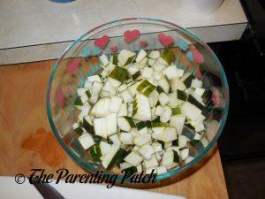 Diced Zucchini for Apple-Zucchini Crisp