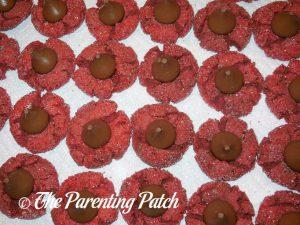 Peanut Butter Red Velvet Blossom Cookies