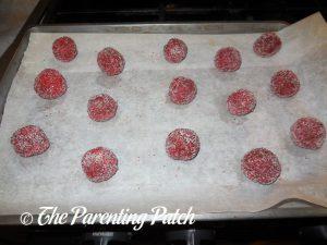 Unbaked Peanut Butter Red Velvet Blossom Cookies