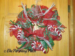Deco Mesh, Ribbon, and Mesh Tube Christmas Wreath Craft
