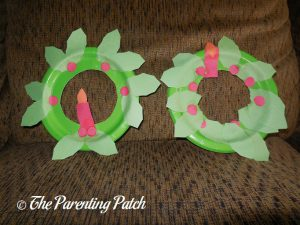 Holly and Candle Paper Plate Christmas Wreath Craft