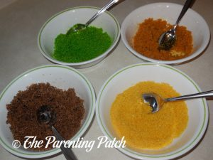 Green, Orange, Brown and Yellow Colored Sugar