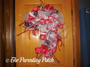 Deco Mesh, Ribbon, and Mesh Tube Candy Cane Christmas Wreath Craft