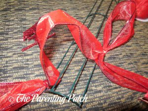 First Loop for Deco Mesh, Ribbon, and Mesh Tube Candy Cane Christmas Wreath Craft