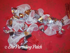 Silver Ribbon for Deco Mesh, Ribbon, and Mesh Tube Candy Cane Christmas Wreath Craft