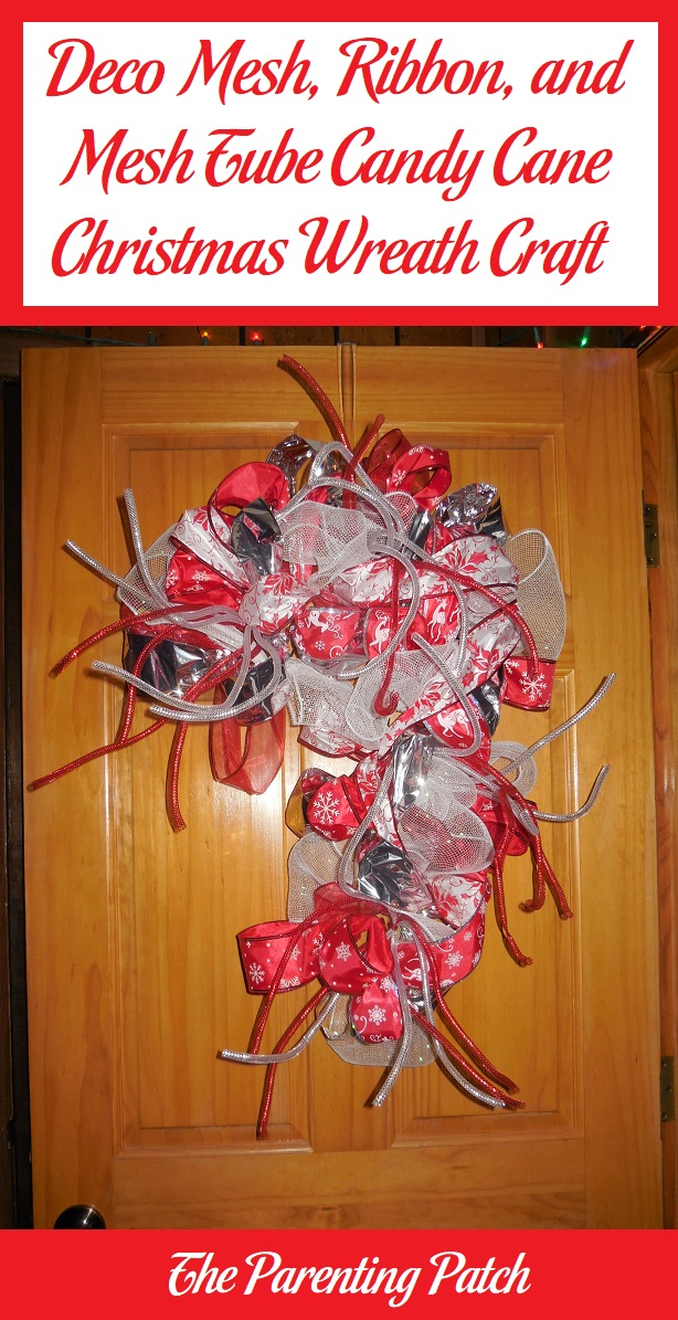 Deco Mesh Ribbon And Mesh Tube Candy Cane Christmas Wreath Craft Parenting Patch