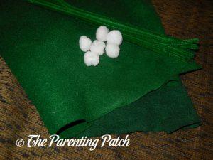Materials for Felt Mistletoe Craft