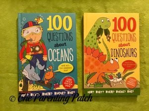 Front Covers of '100 Questions About Oceans' and '100 Questions About Dinosaurs'