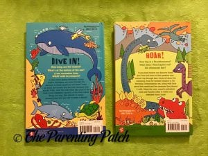 Back Covers of '100 Questions About Oceans' and '100 Questions About Dinosaurs'