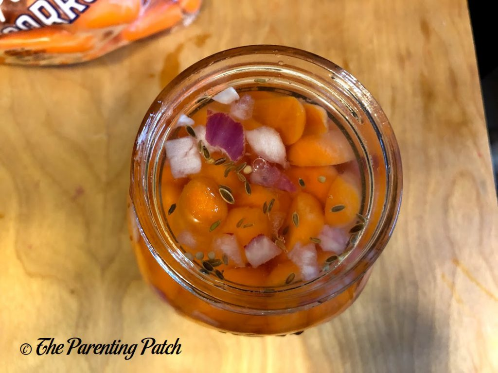 Filled Jar of Pickled Carrots