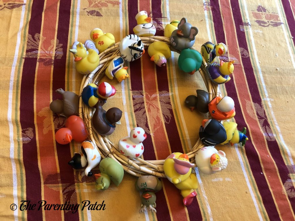Alphabet Ducks Sewn on Wreath