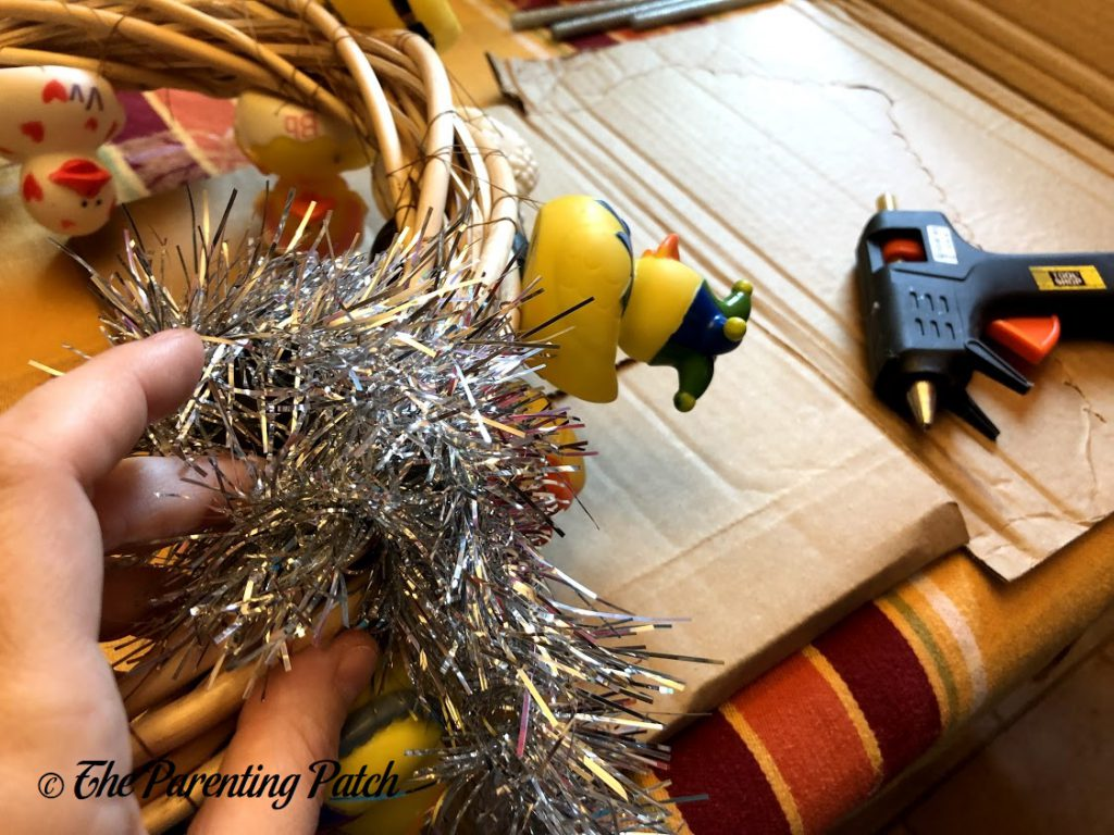 Gluing Silver Garland to the Wreath