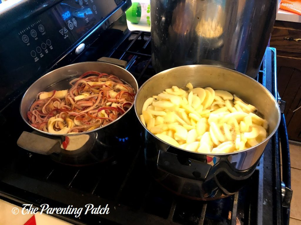 Boiling the Peels and Cores for Pink Apple Jelly