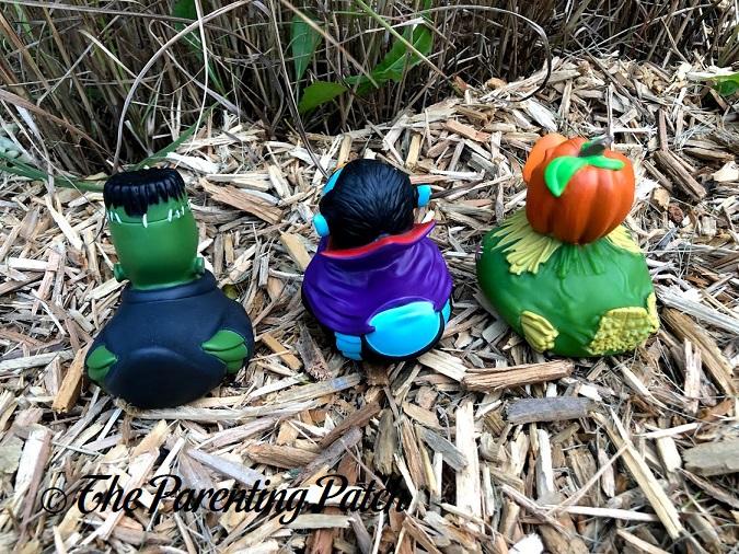 Backs of Wild Republic Halloween Rubber Ducks