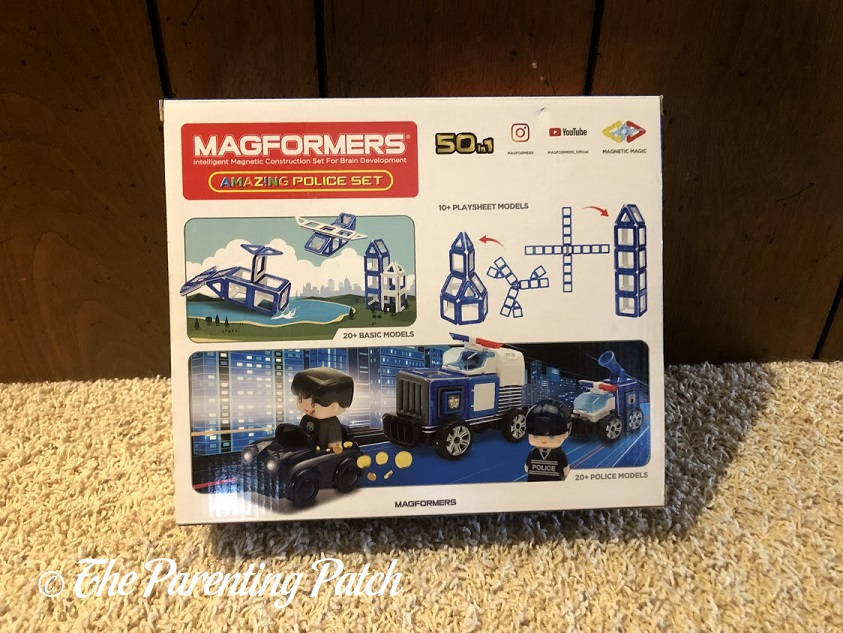 Back of Magformers AMAZING Police Set Box