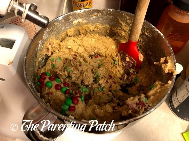 Mixing the Dough for Christmas Monster Cookies
