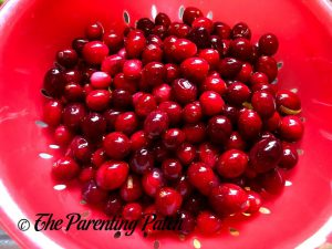 Draining the Cranberries for Sugared Cranberries