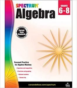 Spectrum Algebra Workbook Grade 6-8